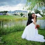 photo de mariage devant le lac